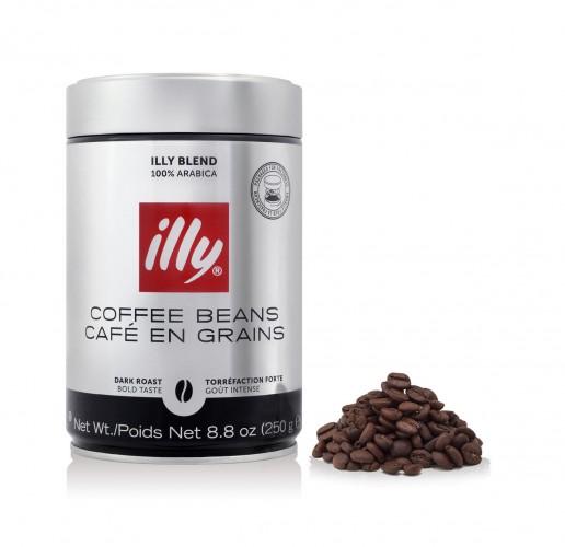 illy 100% Arabica sötét pörkölésű szemes kávé fémdobozban 250g